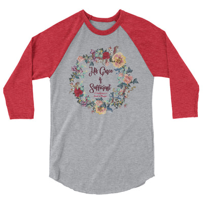 His Grace Is Sufficient - Unisex 3/4 Sleeve Raglan Baseball Tee-Heather Grey/Heather Red-XS-Made In Agapé