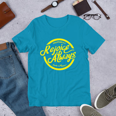 Rejoice Always - Cozy Fit Short Sleeve Tee-Aqua-S-Made In Agapé