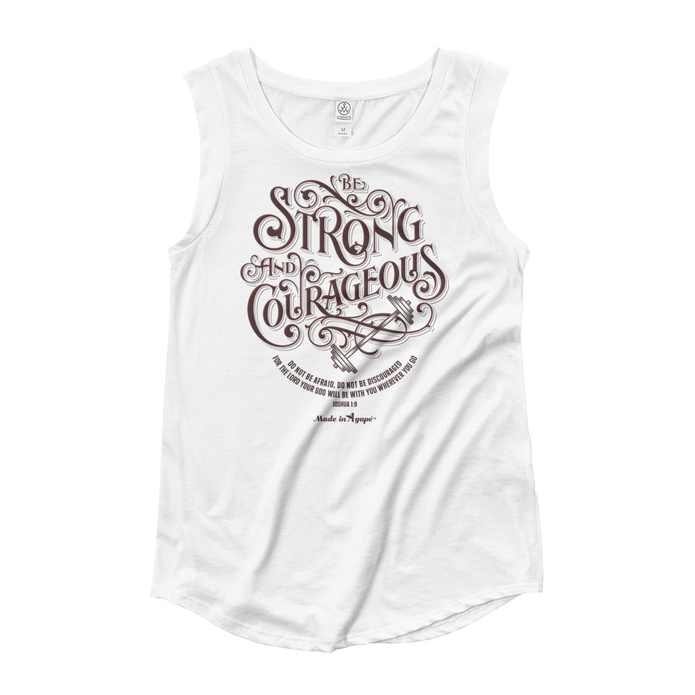 Be Strong And Courageous - Ladies' Cap Sleeve-White-S-Made In Agapé