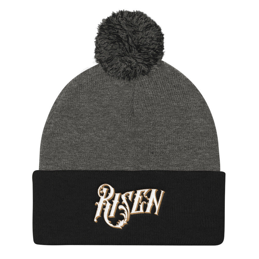 Risen - Pom Pom Knit Beanie-Dark Heather Grey/ Black-Made In Agapé