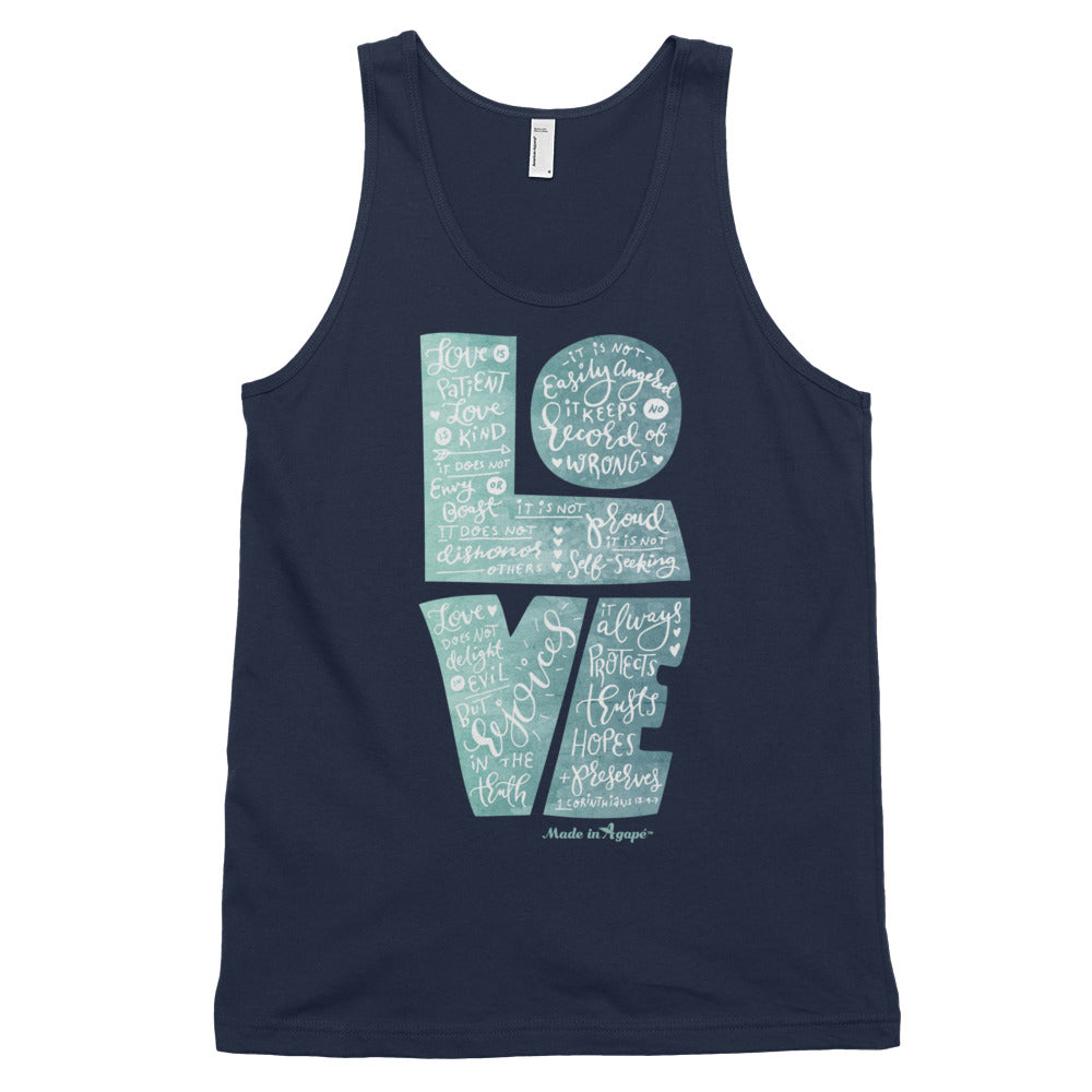 LOVE Is Patient - Unisex Tank-Navy-XS-Made In Agapé