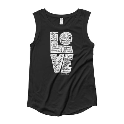 Love Is Patient - Ladies' Cap Sleeve-Black-S-Made In Agapé