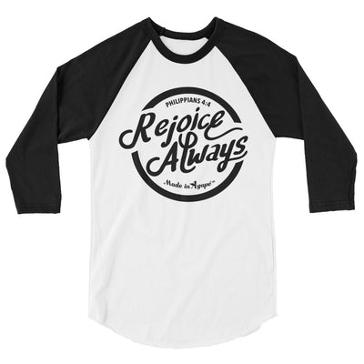 Rejoice Always - Unisex 3/4 Sleeve Raglan Baseball Tee-White/Black-XS-Made In Agapé