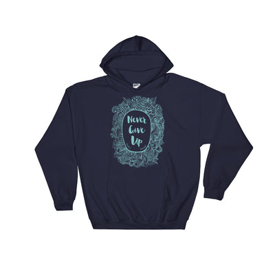 Never Give Up - Women's Hoodie-Navy-S-Made In Agapé
