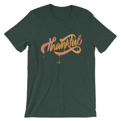 Thankful - Cozy Fit Short Sleeve Tee-Heather Forest-S-Made In Agapé