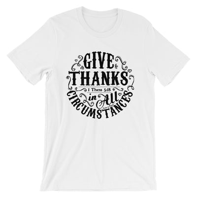 Give Thanks In All Circumstances - Cozy Fit Short Sleeve Tee-White-S-Made In Agapé