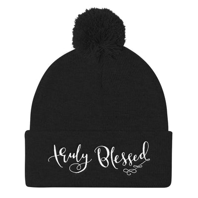 Truly Blessed - Pom Pom Knit Beanie-Black-Made In Agapé