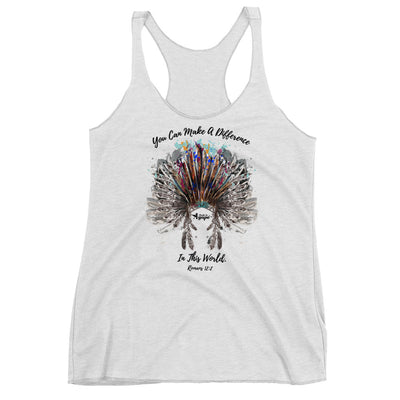Make A Difference In This World - Ladies' Triblend Racerback Tank-Heather White-XS-Made In Agapé