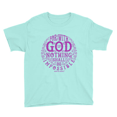 Nothing Impossible With God - Youth Short Sleeve Tee-Teal Ice-S-Made In Agapé