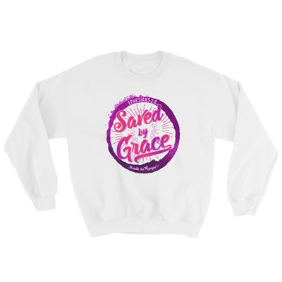 Saved By Grace - Men's Sweatshirt-White-S-Made In Agapé