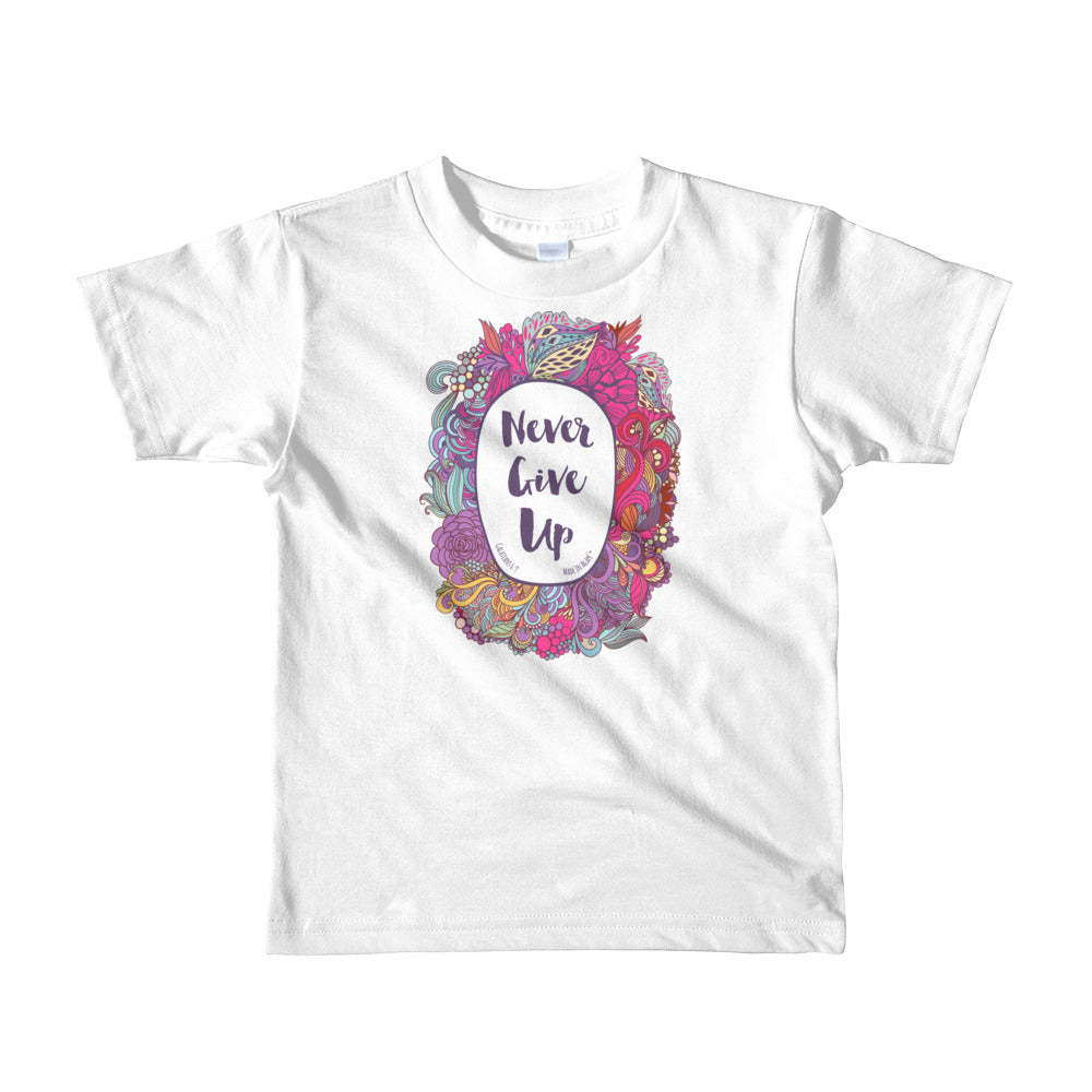 Never Give Up - Kids T-Shirt-White-2yrs-Made In Agapé