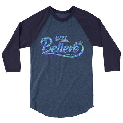 Just Believe - Unisex 3/4 Sleeve Raglan Baseball Tee-Heather Denim/Navy-XS-Made In Agapé