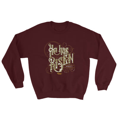He Has Risen - Men's Sweatshirt-Maroon-S-Made In Agapé