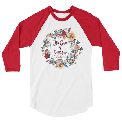 His Grace Is Sufficient - Unisex 3/4 Sleeve Raglan Baseball Tee-White/Red-XS-Made In Agapé