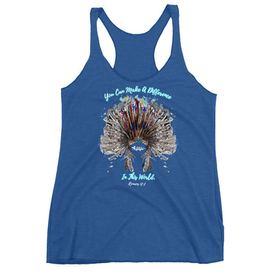 Make A Difference In This World - Ladies' Triblend Racerback Tank-Vintage Royal-XS-Made In Agapé
