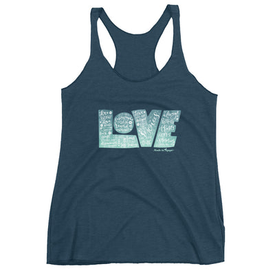 LOVE Protects - Ladies' Triblend Racerback Tank-Indigo-XS-Made In Agapé