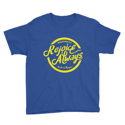 Rejoice Always - Youth Short Sleeve Tee-Royal Blue-XS-Made In Agapé