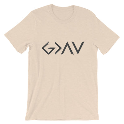 God Greater Than Highs Lows - Cozy Fit Short Sleeve Tee-Heather Dust-S-Made In Agapé