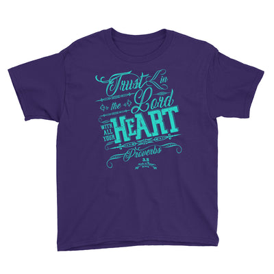 Trust In The Lord - Youth Short Sleeve Tee-Purple-XS-Made In Agapé