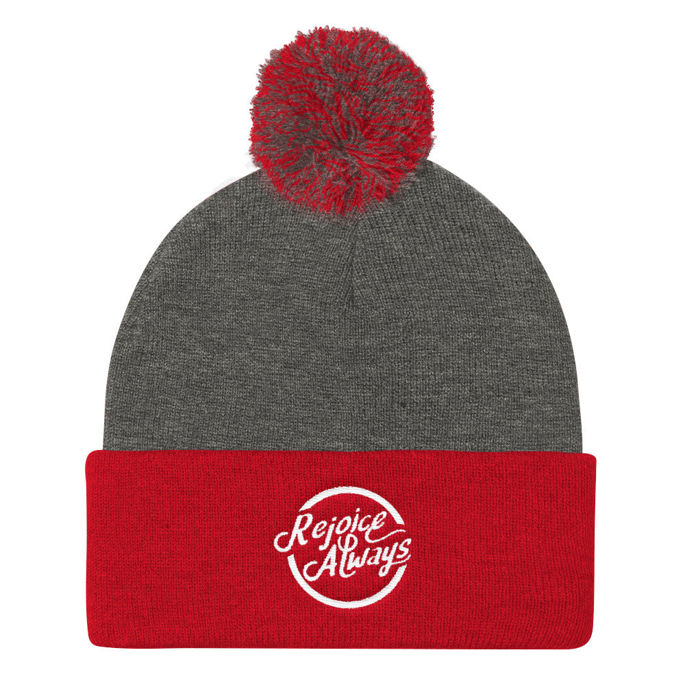 Rejoice Always - Pom Pom Knit Beanie-Dark Heather Grey/ Red-Made In Agapé
