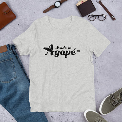 Made In Agapé™ - Cozy Fit Short Sleeve Tee-Athletic Heather-S-Made In Agapé
