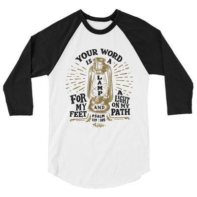 Word Is A Lamp For Feet And Light On Path - Unisex 3/4 Sleeve Raglan Baseball Tee-White/Black-XS-Made In Agapé