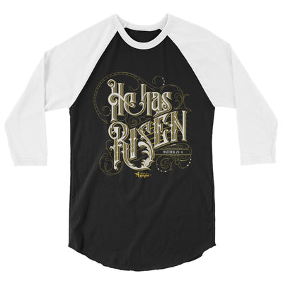 He Has Risen - Unisex 3/4 Sleeve Raglan Baseball Tee-XS-Made In Agapé