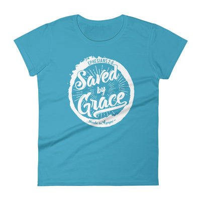 Saved By Grace - Ladies' Fit Tee-Caribbean Blue-M-Made In Agapé