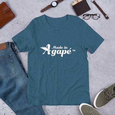 Made In Agapé™ - Cozy Fit Short Sleeve Tee-Heather Deep Teal-S-Made In Agapé