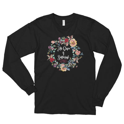 His Grace Is Sufficient - Unisex Long Sleeve Shirt-Black-S-Made In Agapé