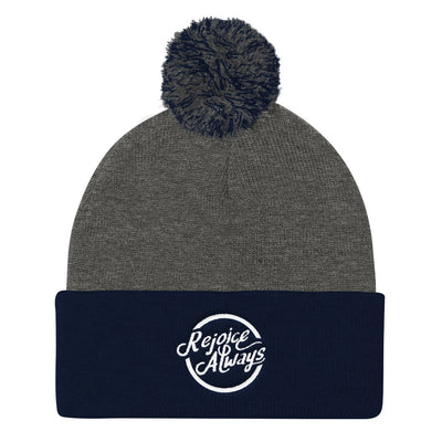Rejoice Always - Pom Pom Knit Beanie-Dark Heather Grey/ Navy-Made In Agapé