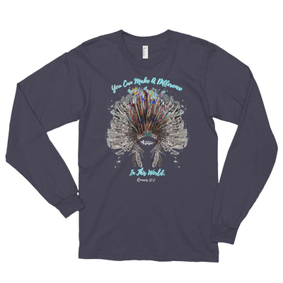 Make A Difference In The World - Unisex Long Sleeve Shirt-Asphalt-S-Made In Agapé