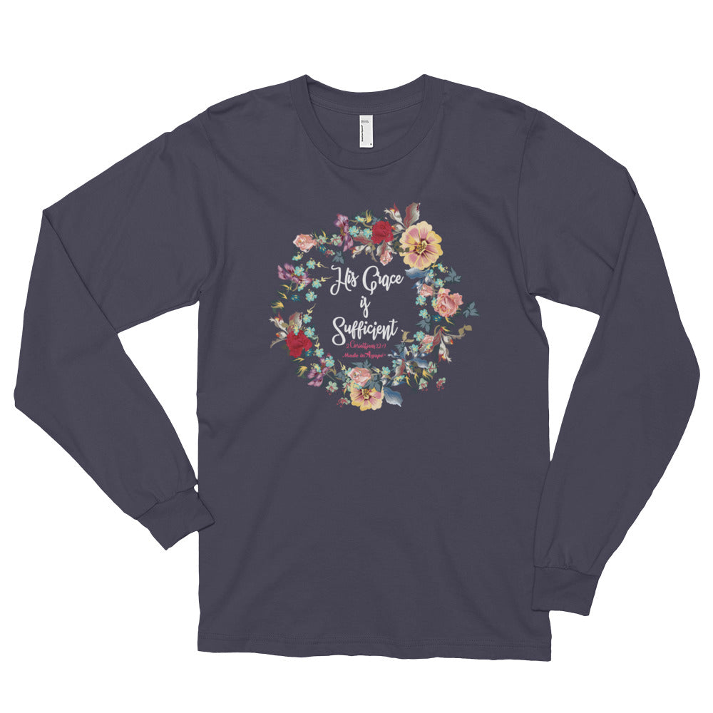 His Grace Is Sufficient - Unisex Long Sleeve Shirt-Asphalt-S-Made In Agapé