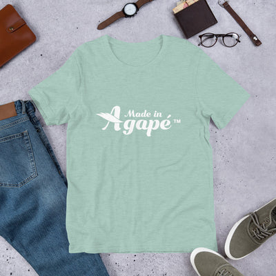 Made In Agapé™ - Cozy Fit Short Sleeve Tee-Heather Prism Dusty Blue-XS-Made In Agapé