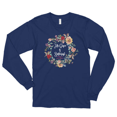 His Grace Is Sufficient - Unisex Long Sleeve Shirt-Navy-S-Made In Agapé