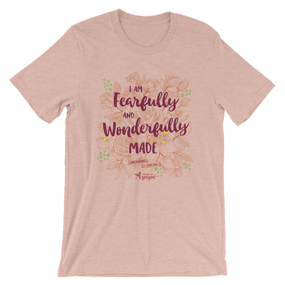 Fearfully And Wonderfully Made - Cozy Fit Short Sleeve Tee-Heather Prism Peach-S-Made In Agapé
