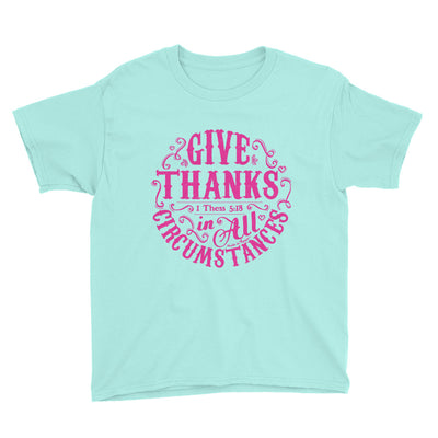 Give Thanks In All Circumstances - Youth Short Sleeve Tee-Teal Ice-S-Made In Agapé