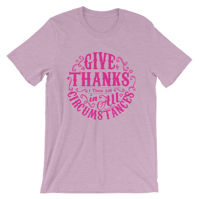 Give Thanks In All Circumstances - Cozy Fit Short Sleeve Tee-Heather Prism Lilac-S-Made In Agapé
