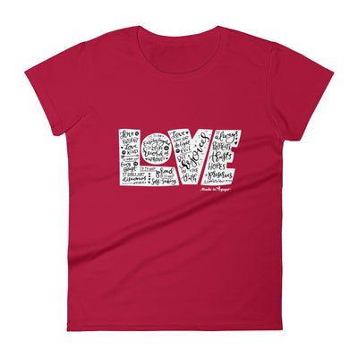 LOVE Protects - Ladies' Fit Tee-Red-S-Made In Agapé