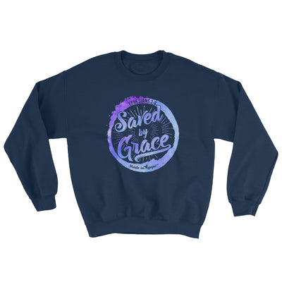 Saved By Grace - Women's Sweatshirt-Navy-S-Made In Agapé