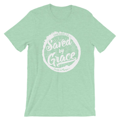 Saved By Grace - Cozy Fit Short Sleeve Tee-Heather Prism Mint-XS-Made In Agapé