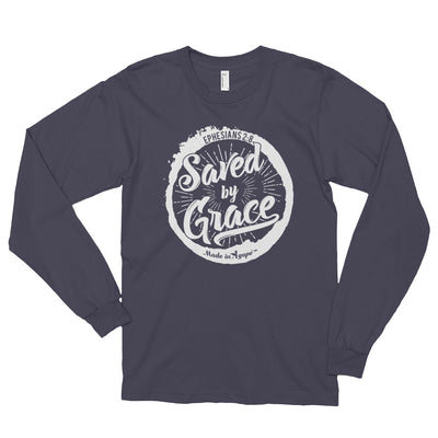 Saved By Grace - Unisex Long Sleeve Shirt-Asphalt-S-Made In Agapé