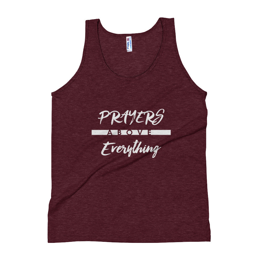 Prayers Over Everything - Unisex Triblend Tank-Tri-Cranberry-XS-Made In Agapé