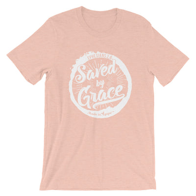 Saved By Grace - Cozy Fit Short Sleeve Tee-Heather Prism Peach-XS-Made In Agapé