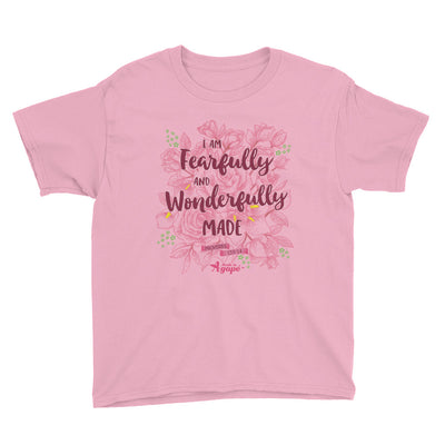 Fearfully And Wonderfully Made - Youth Short Sleeve Tee-CharityPink-XS-Made In Agapé