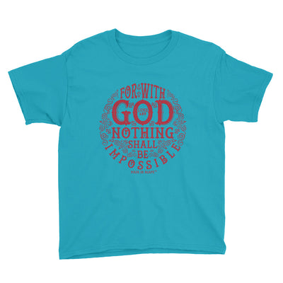 Nothing Impossible With God - Youth Short Sleeve Tee-Caribbean Blue-XS-Made In Agapé