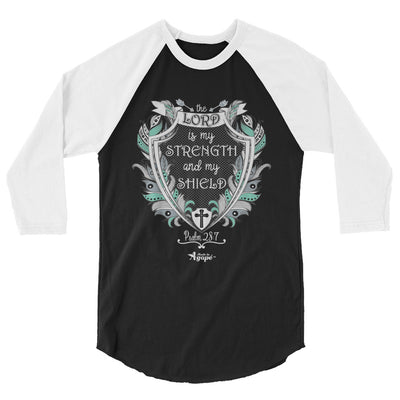 Lord Is My Strength And Shield - Unisex 3/4 Sleeve Raglan Baseball Tee-Black/White-XS-Made In Agapé