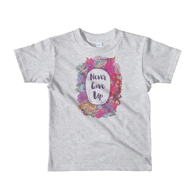 Never Give Up - Kids T-Shirt-Heather Grey-2yrs-Made In Agapé