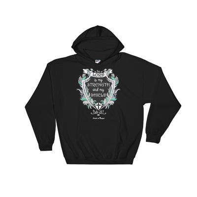 Lord Is My Strength And Shield - Women's Hoodie-Black-S-Made In Agapé