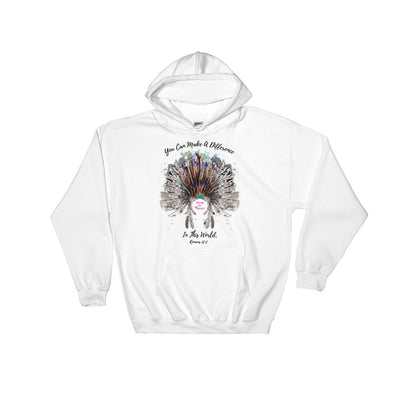 Make A Difference In This World - Women's Hoodie-White-S-Made In Agapé
